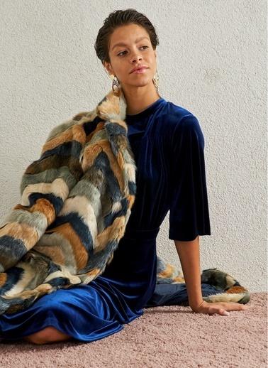 Monamoda Kadife Midi Elbise Lacivert